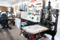 Coal Shed Press studio view with Victorian Albion press and etching press