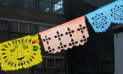 papel picado - mexican paper cut banners hanging in the sun