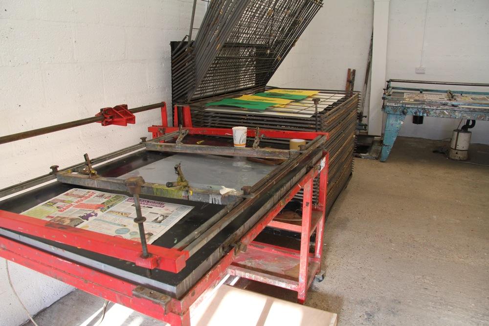 Screen beds in the screen printing studio
