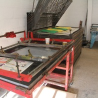 Screen beds in the screen printing studio