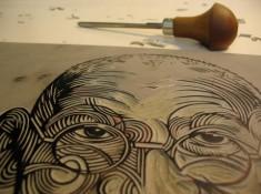 Carved linocut - Nick Morley workshop