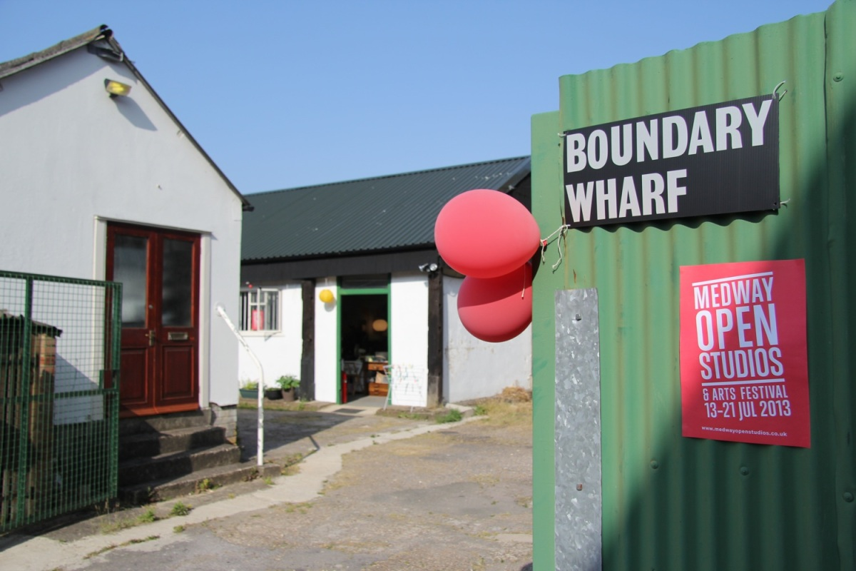 Boundary Wharf gate, during Medway Open Studios