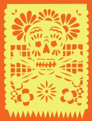papel picado skull design for a tote bag
