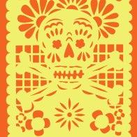 papel picado skull design for a tote bag