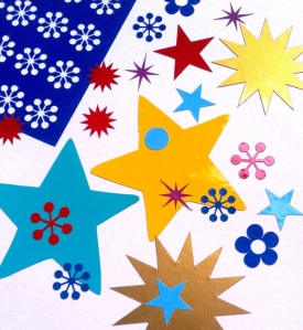 Coloured vinyl stickers in stars and other shapes