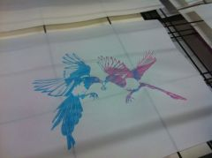 Colour blended print created in a Screen Printing Two workshop