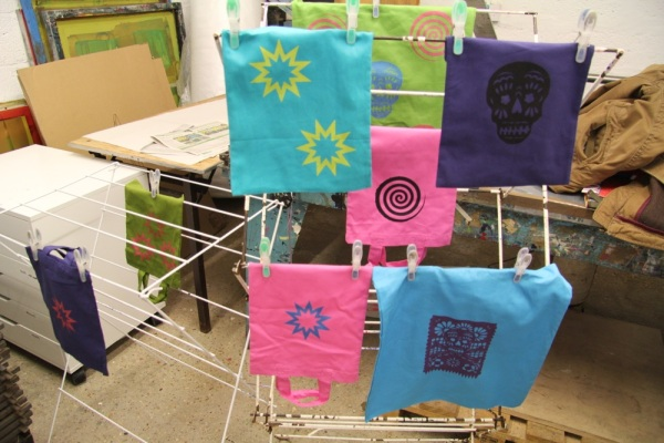 Gocco / thermofax screen printed tote bags