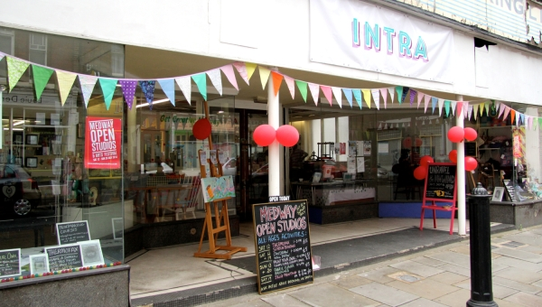 Front of INTRA decorated with bunting during Medway Open Studios