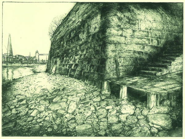 Wapping stairs - acrylic drypoint by Peta Bridle
