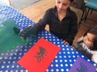 children printing with simple foam relief blocks