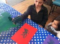 children printing with simple foam relief blocks