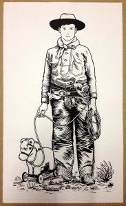 linocut cowboy by Nick Morley