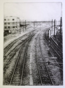 Photographic photopolymer etching print of a railway track