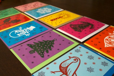 Screen printed & stamped cards