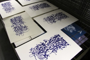 calligraphy screen print