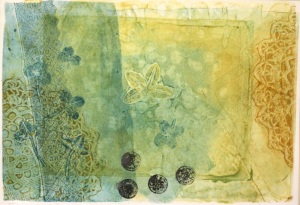 gelli print lace lucky clovers - by Xtina Lamb