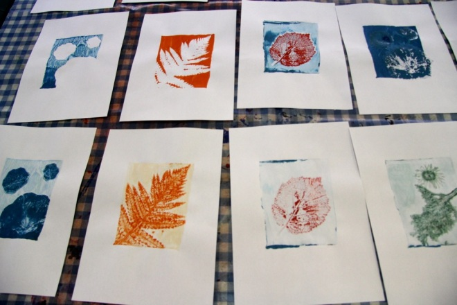 gelli prints leaves
