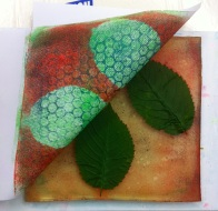 gelli plate with leaves and textured print