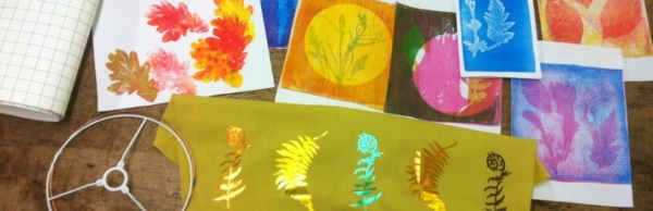 lampshade making materials and autumn themed prints