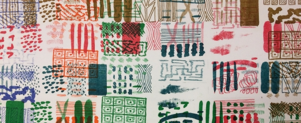 Sample patterns over printed in various Riso colours