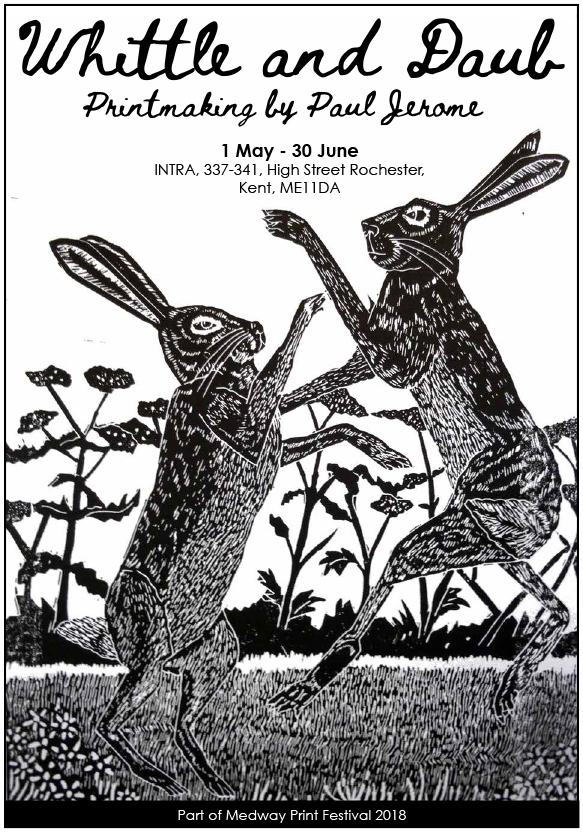 Whittle and Daub, Printmaking by Paul Jerome, hares fighting